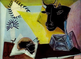 Still life with black bull head