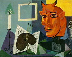 Still Life with Candle, Palette and Red Minotaur Head