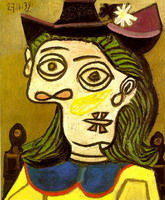 Pablo Picasso. Head of a Woman with purple hat
