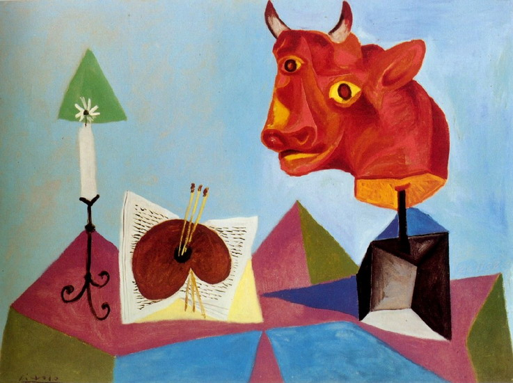 Pablo Picasso. Candle, palette, red bull head, 1938