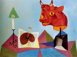 Pablo Picasso. Candle, palette, red bull head