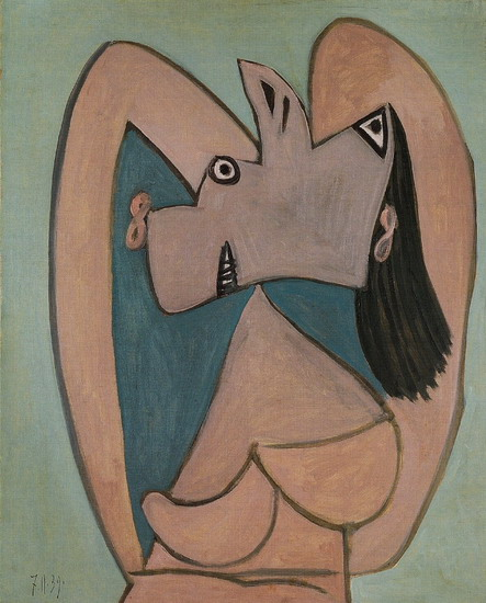 Pablo Picasso. Bust of a woman, arms crossed behind the head, 1939