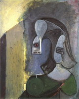 Woman head with two profiles