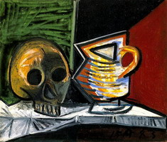 Still Life with Skull and pot