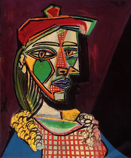 Pablo Picasso. Woman with a beret and plaid dress (Marie-Therese Walter), 1937