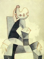 Woman sitting in a gray chair