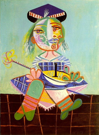 Pablo Picasso. Maya has two and a half years with a boat, 1938