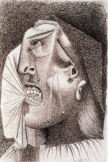Pablo Picasso. Weeping Woman with handkerchief It, 1937