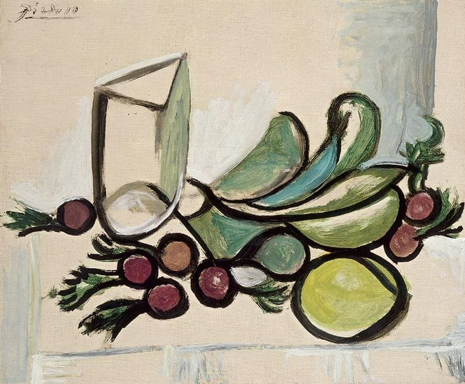 Pablo Picasso. Glass and fruit [Glass and apple, lilac edge], 1923