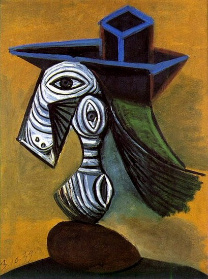 Pablo Picasso. Woman with blue hat, 1960