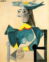 Pablo Picasso. Seated Woman with Hat-Fish