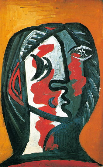 Pablo Picasso. Gray female head and red ocher background, 1926