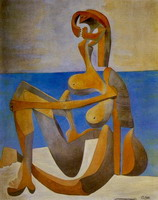 Pablo Picasso. Seated Bather at the seaside