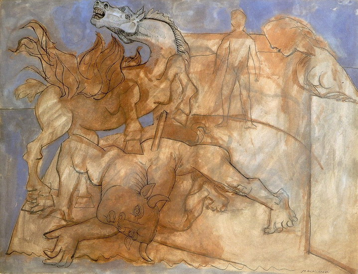 Pablo Picasso. Minotaur injured, horse and characters, 1936