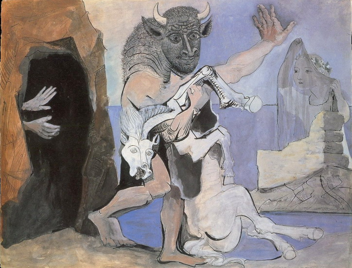 Pablo Picasso. Minotaur and mare died before a cave facing an au veil, 1936