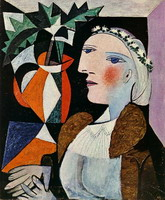 Pablo Picasso. Woman portrait with wreath
