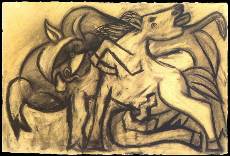 Pablo Picasso. Horse and bull, 1934