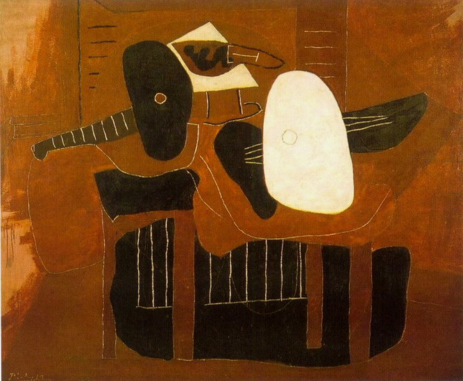 Pablo Picasso. Musical instruments on a table, 1925