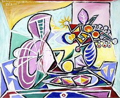 Pablo Picasso. Mandolin and vase of flowers [Still Life], 1934