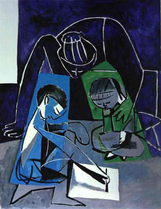 Pablo Picasso. Francoise, Claude and Paloma, 1954