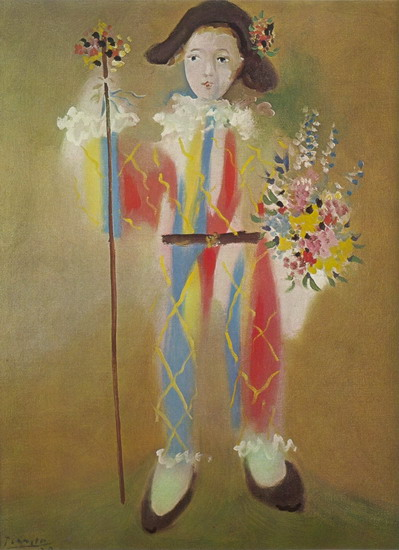 Pablo Picasso. Paul harlequin with flowers, 1923