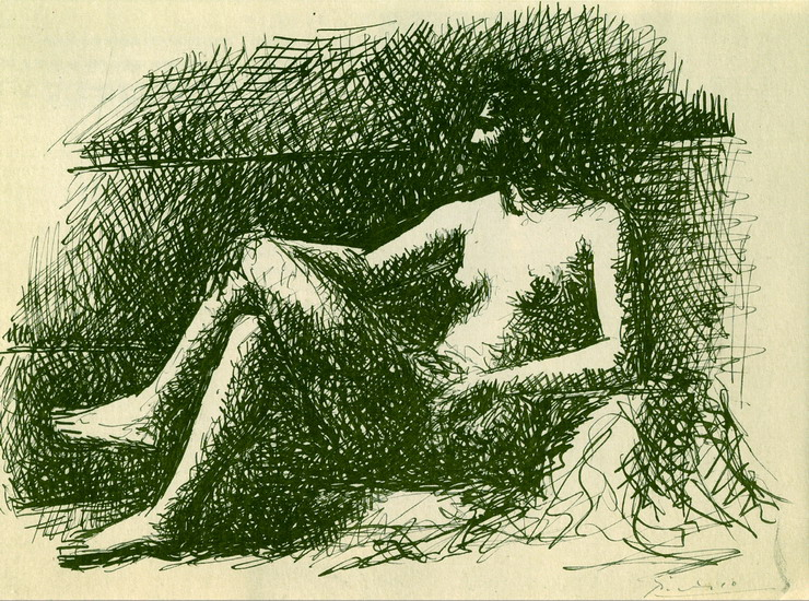 Pablo Picasso. Nude female sitting, 1922