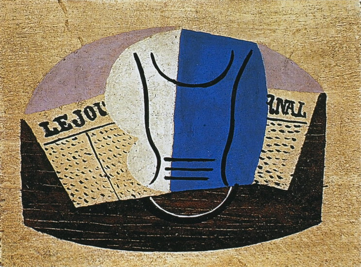 Pablo Picasso. Still life with `Journal` [Glass and newspaper], 1923