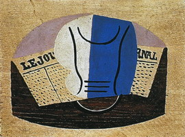 Pablo Picasso. Still life with `Journal` [Glass and newspaper]