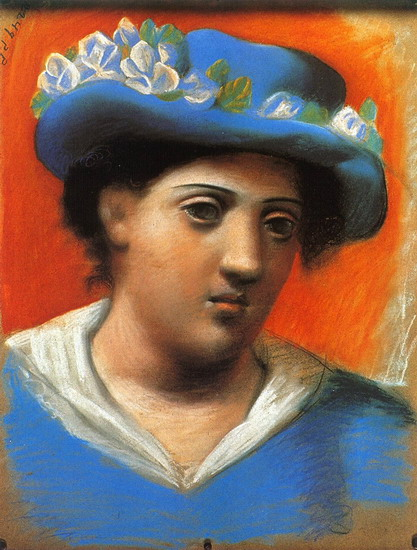 Pablo Picasso. Woman with blue hat flowers, 1921
