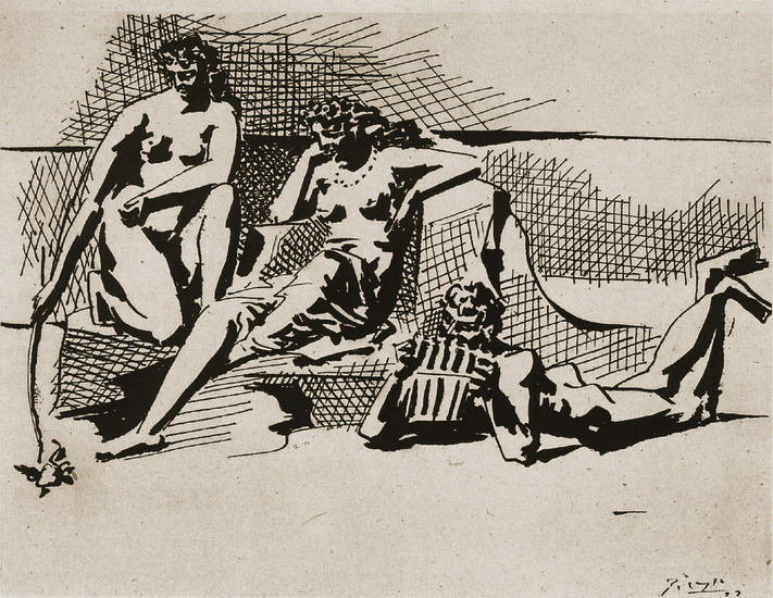 Pablo Picasso. Two bathers and flЦte player Pan, 1923