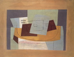 Pablo Picasso. Still Life geometric to the partition [Score and Guitar], 1921