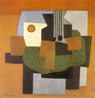 Pablo Picasso. Guitar and fruit bowl on a table Table, 1921