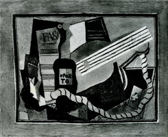 Pablo Picasso. Partition bottle of port, guitar and playing cards