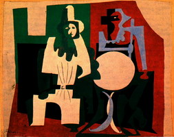 Pablo Picasso. Pierrot and Harlequin has a cafe terrace