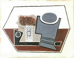 Pablo Picasso. Pipe, glass and package of tobacco