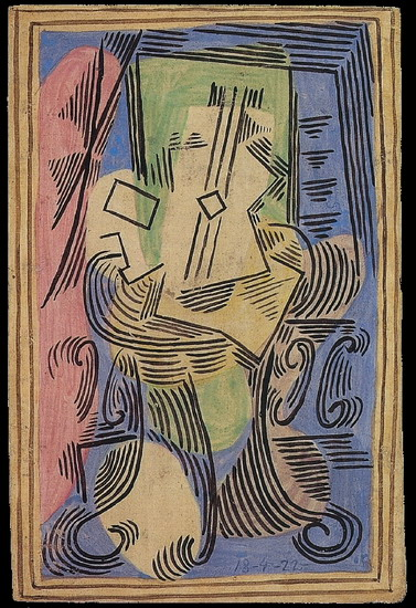 Pablo Picasso. Still Life with guitar on pedestal, 1922