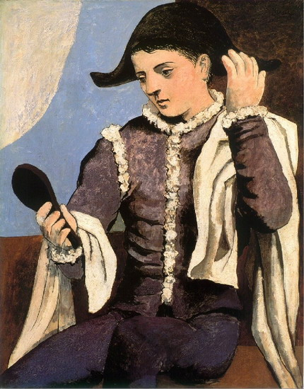 Pablo Picasso. Harlequin with mirror, 1923