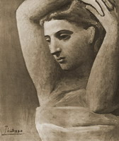 Bust of a woman's arm leves