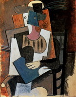 Pablo Picasso. Woman with feather hat sitting in a chair