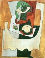 Pablo Picasso. Still Life with pedestal and l`assiette