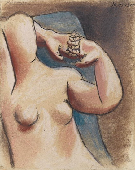 Pablo Picasso. Naked female torso, the hands crossed, 1920