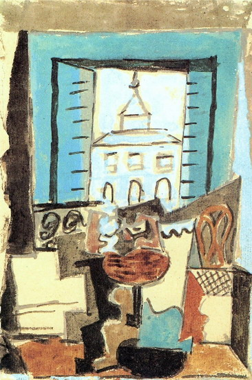Pablo Picasso. Guitar and Fruit Dish on a pedestal in front of an open window [Still life in a window], 1919