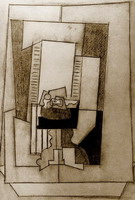 Pablo Picasso. Still life on a pedestal in front of a window open1