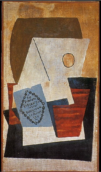 Pablo Picasso. Composition with blue cigar box [Glass and package of tobacco], 1921