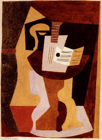 Pablo Picasso. Guitar and partition on a pedestal, 1920