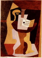 Pablo Picasso. Guitar and partition on a pedestal