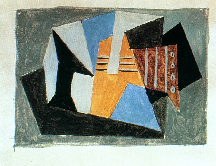 Pablo Picasso. Guitar and fruit bowl on a table, 1920