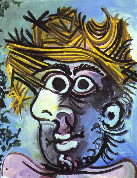 Pablo Picasso. Human head with Straw Hat, 1971