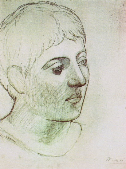 Pablo Picasso. Head of young man [Face left three-quarters], 1923
