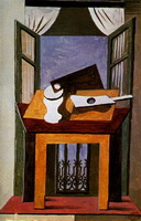 Still life on a table at an open window